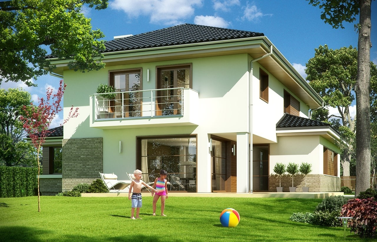 Projekt domu Kasjopea 5 - wizualizacja tylna odbicie lustrzane