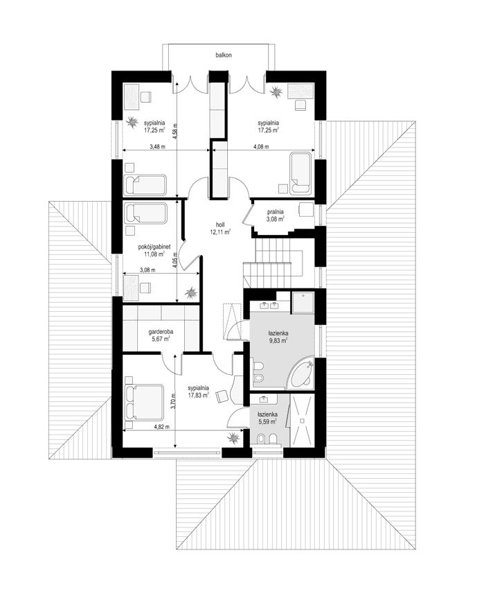 Kasjopea 6 - rzut piętra odbicie lustrzane