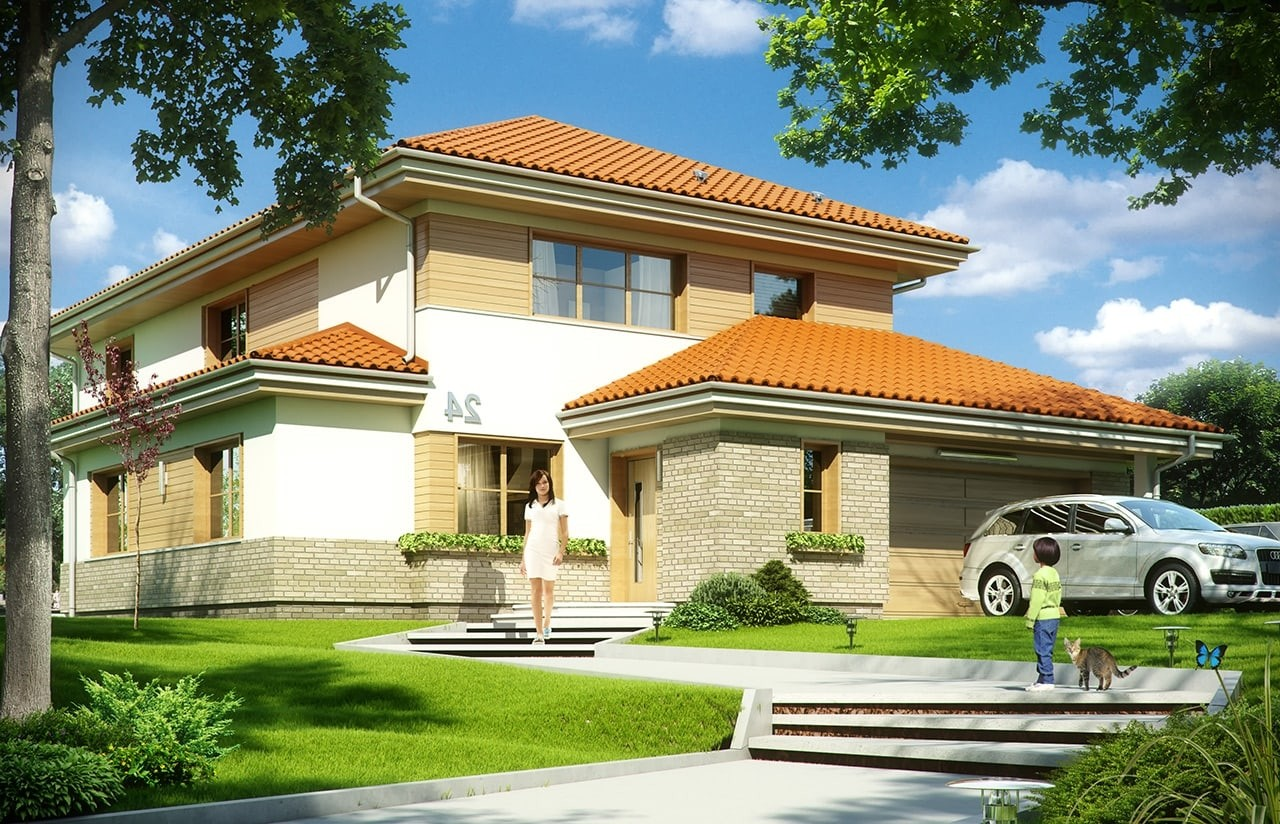 Projekt domu Kasjopea 6 - wizualizacja frontowa odbicie lustrzane