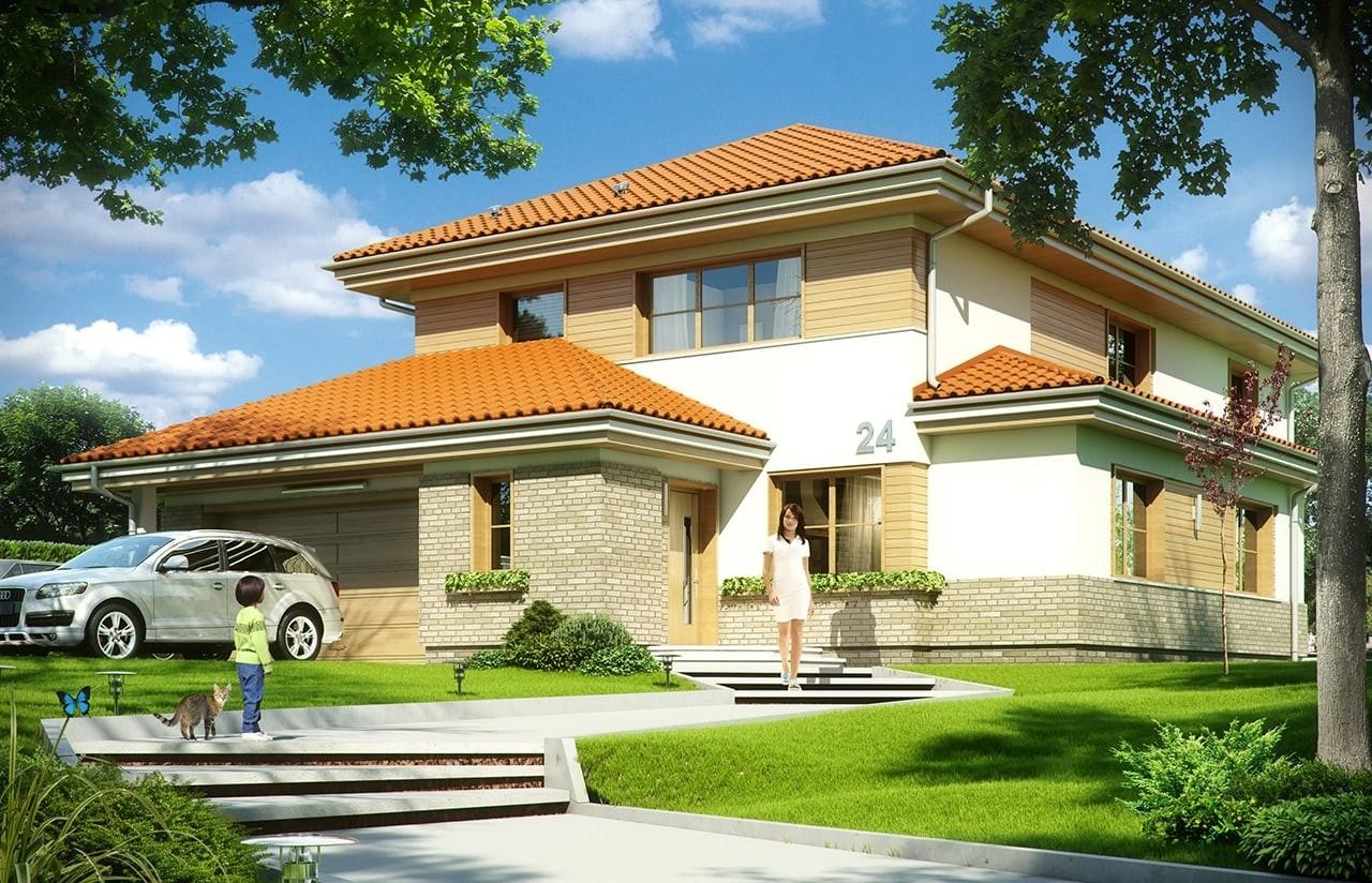 Projekt domu Kasjopea 6 - wizualizacja frontowa