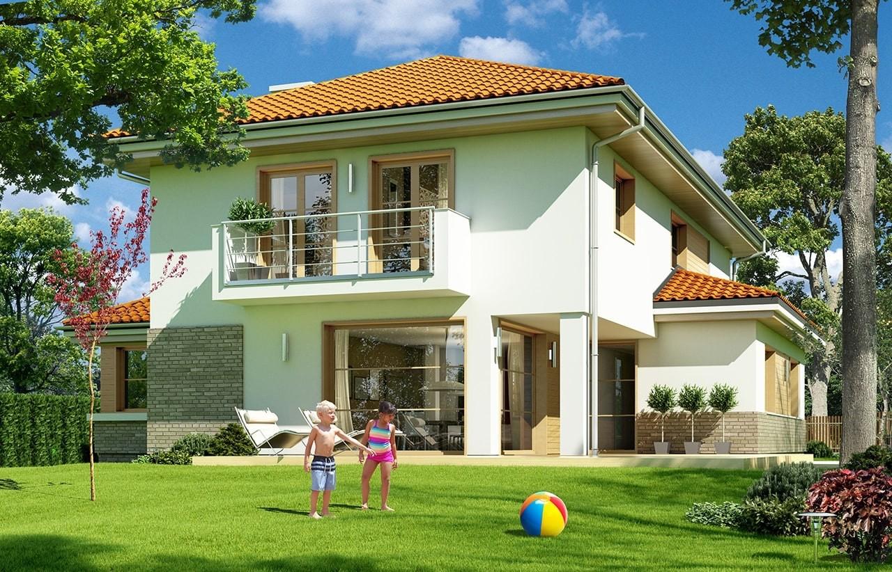 Projekt domu Kasjopea 6 - wizualizacja tylna odbicie lustrzane