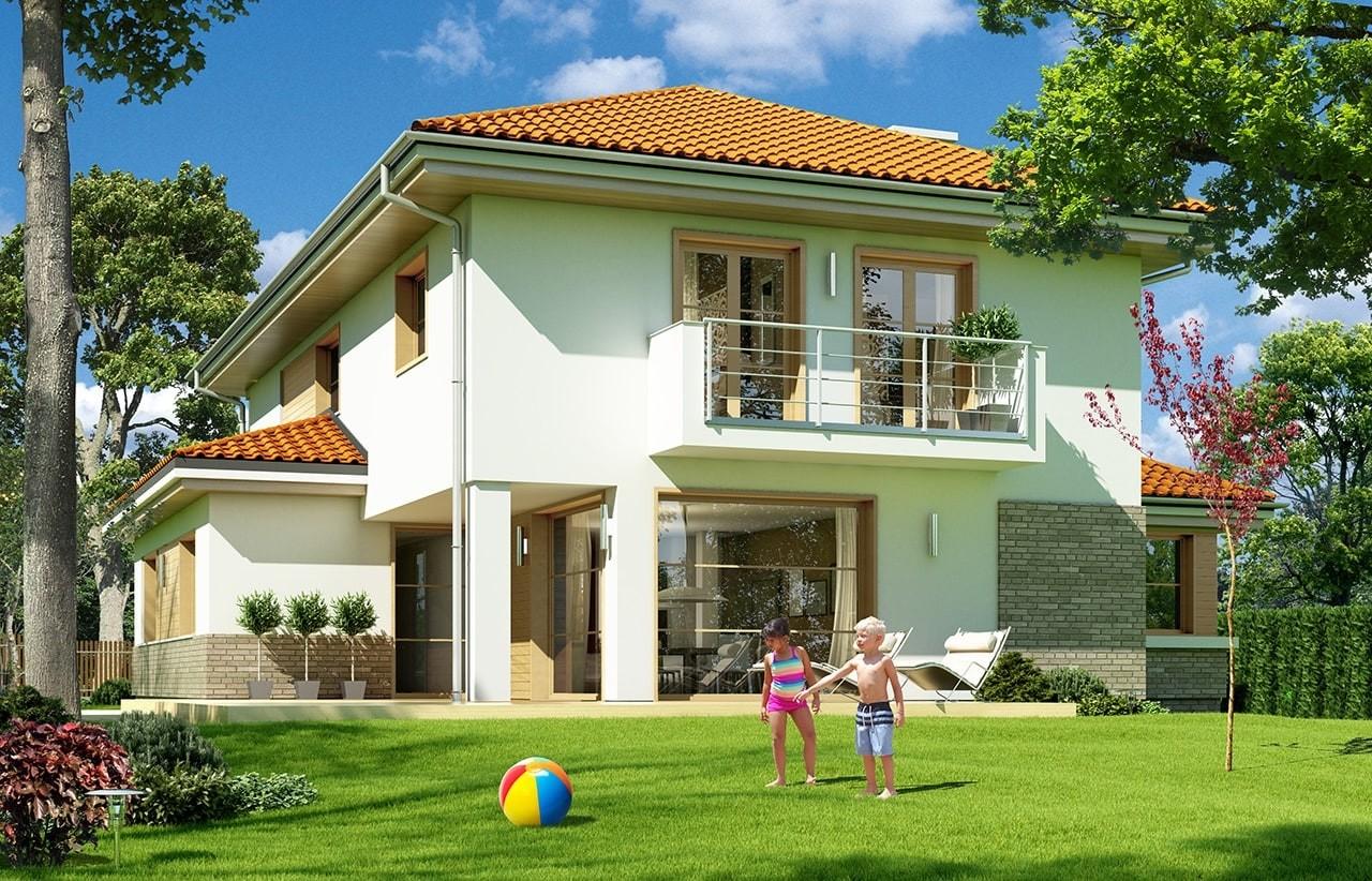 Projekt domu Kasjopea 6 - wizualizacja tylna