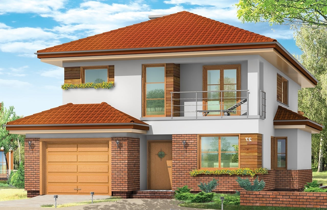 Projekt domu Kasjopea - wizualizacja frontowa odbicie lustrzane