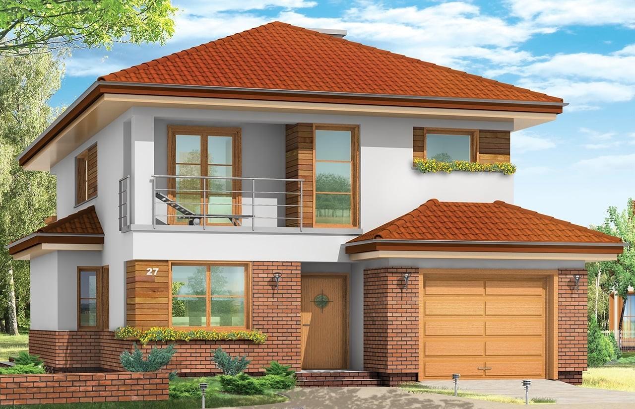 Projekt domu Kasjopea - wizualizacja frontowa