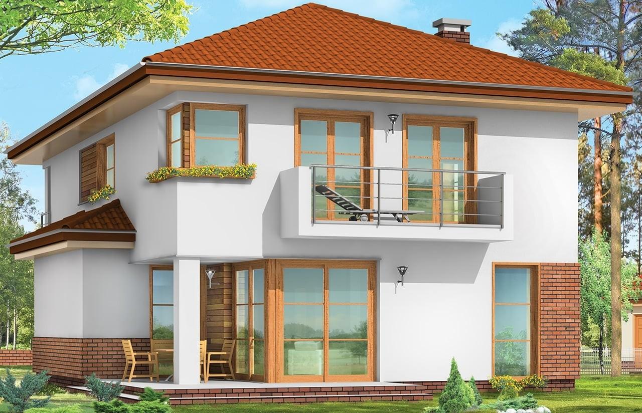Projekt domu Kasjopea - wizualizacja tylna odbicie lustrzane