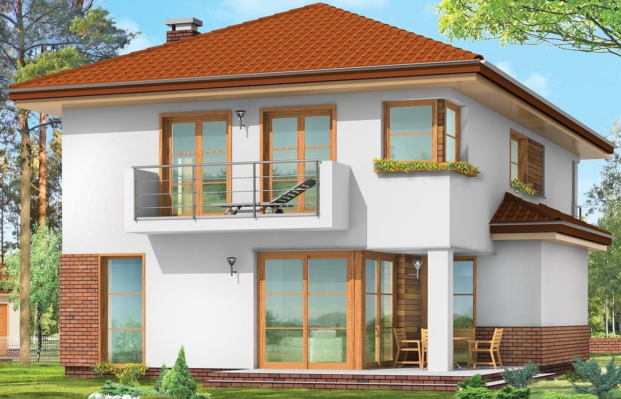 Projekt domu Kasjopea - wizualizacja tylna