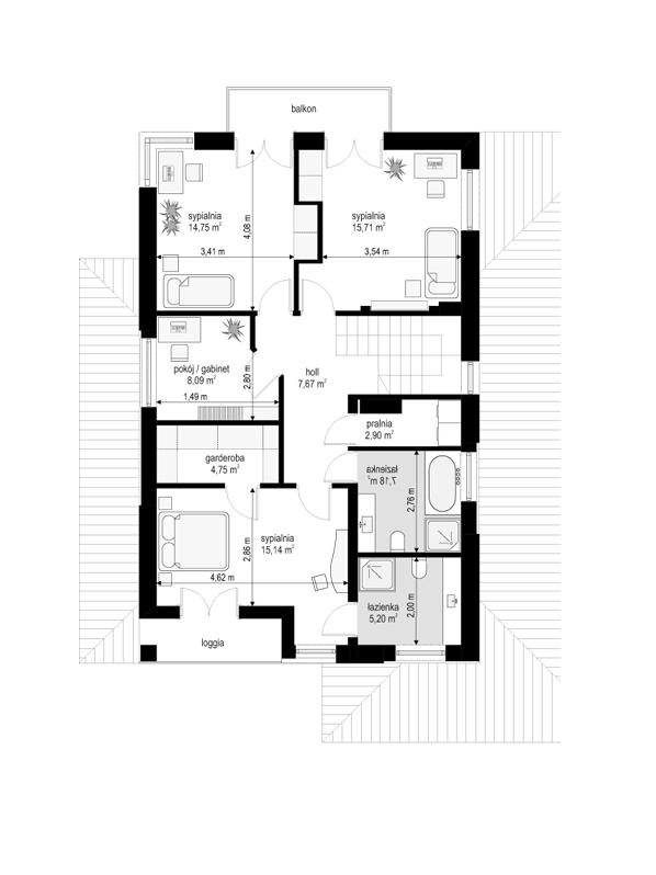 Kasjopea 7 - rzut piętra odbicie lustrzane