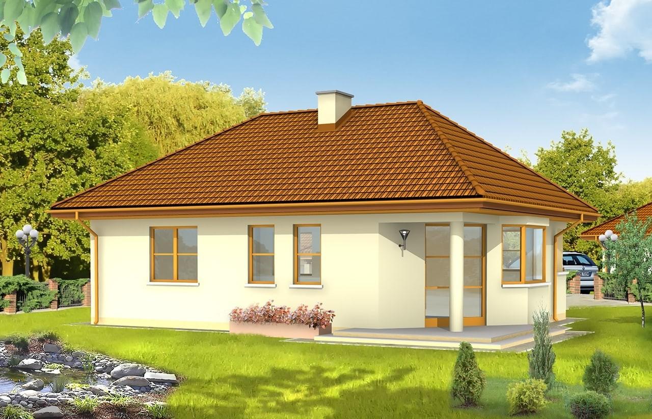 Projekt domu Klejnot - wizualizacja tylna odbicie lustrzane