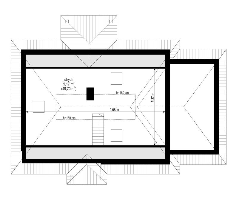 Klejnot z garażem - rzut strychu odbicie lustrzane