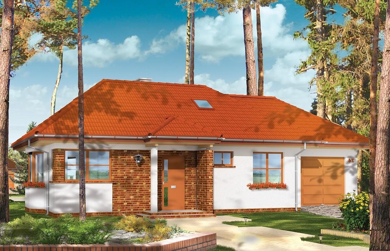 Projekt domu Klejnot z garażem - wizualizacja frontowa odbicie lustrzane