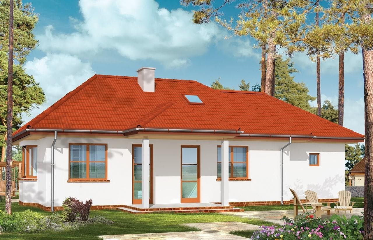 Projekt domu Klejnot z garażem - wizualizacja tylna