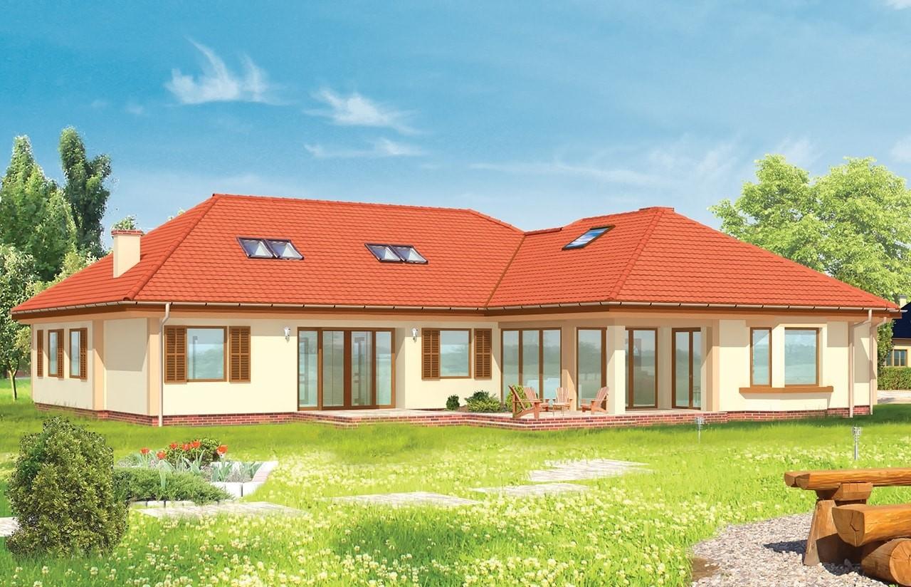 Projekt domu Komfortowy 2 - wizualizacja tylna odbicie lustrzane