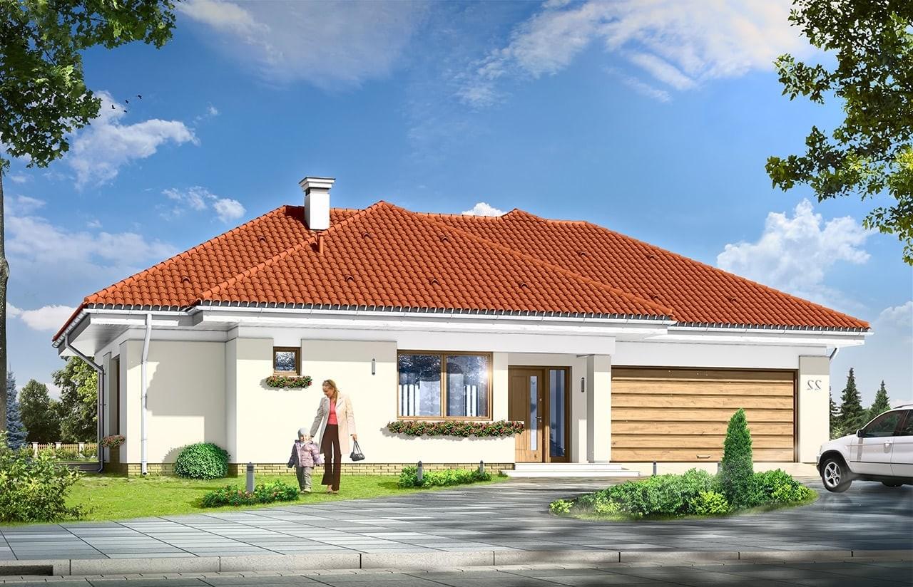 Projekt domu Komfortowy 3 - wizualizacja frontowa odbicie lustrzane