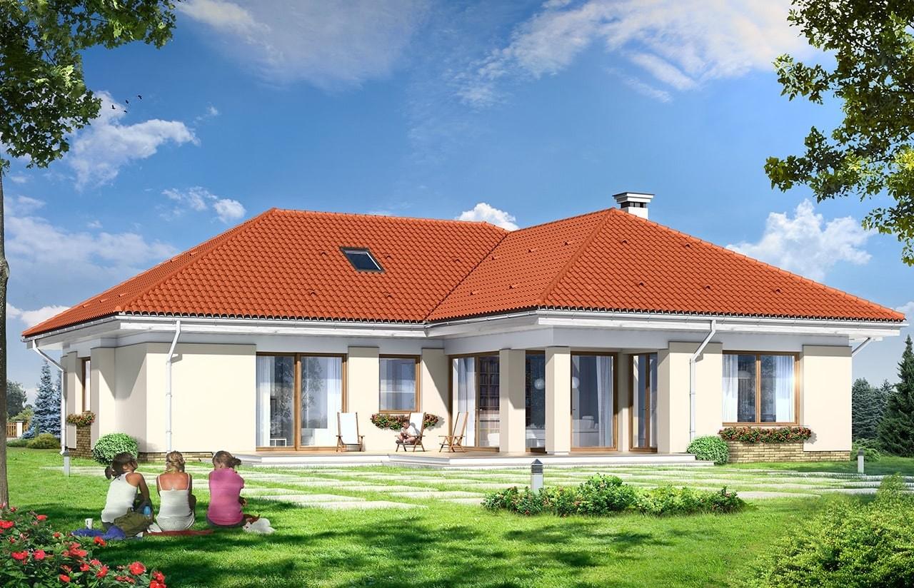 Projekt domu Komfortowy 3 - wizualizacja tylna odbicie lustrzane