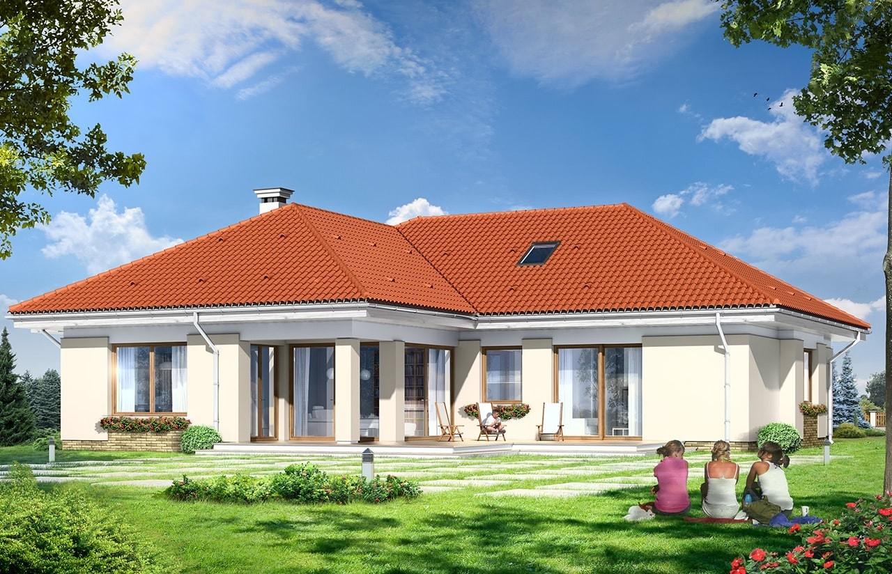 Projekt domu Komfortowy 3 - wizualizacja tylna