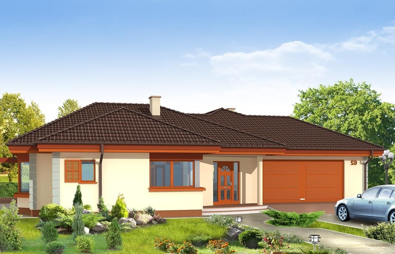 Projekt domu Komfortowy - wizualizacja frontowa odbicie lustrzane