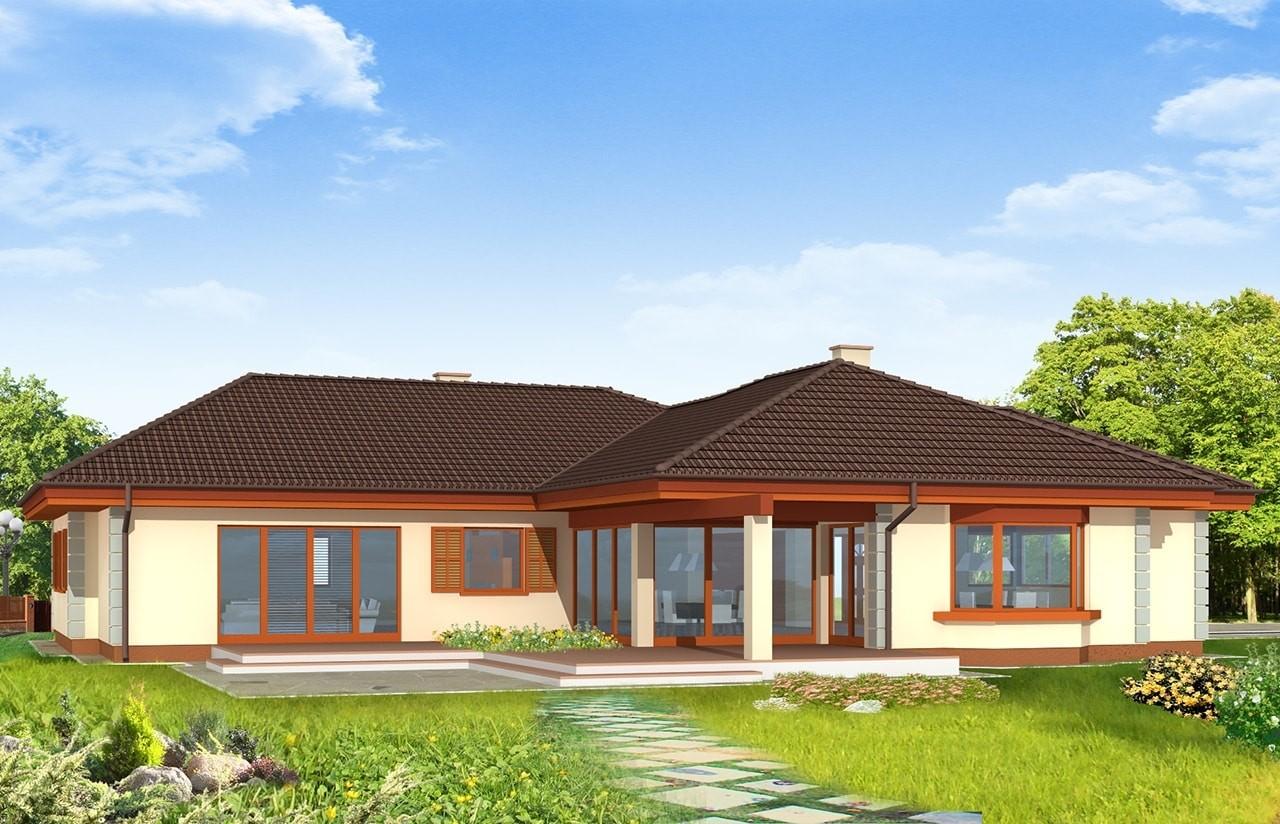 Projekt domu Komfortowy - wizualizacja tylna odbicie lustrzane