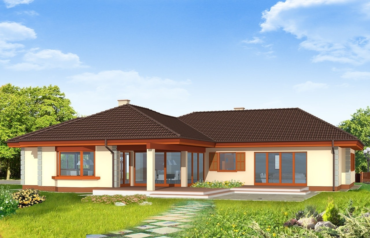 Projekt domu Komfortowy - wizualizacja tylna