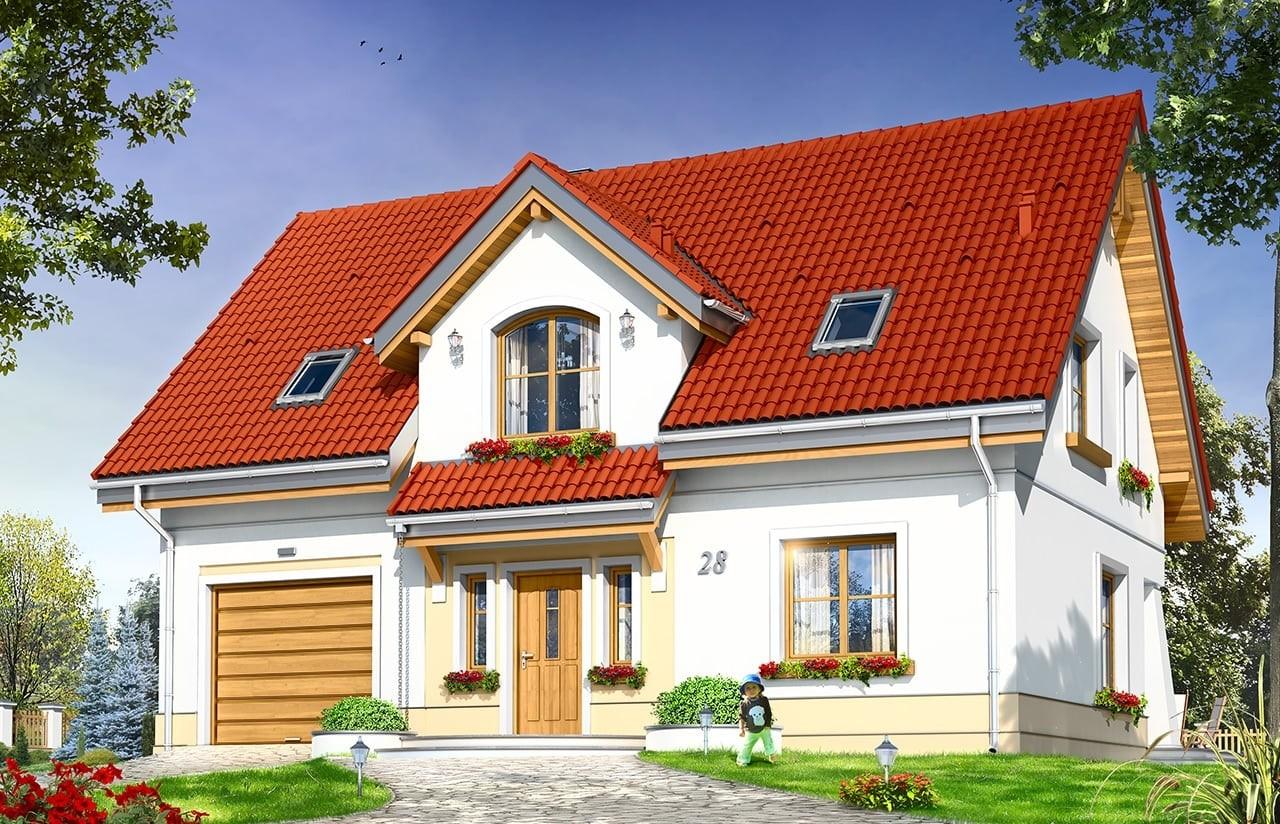 Projekt domu Koniczynka - wizualizacja frontowa