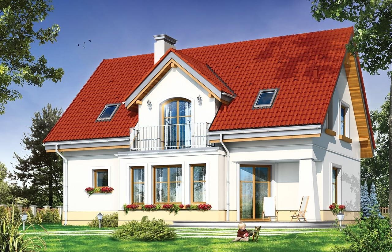 Projekt domu Koniczynka - wizualizacja tylna odbicie lustrzane