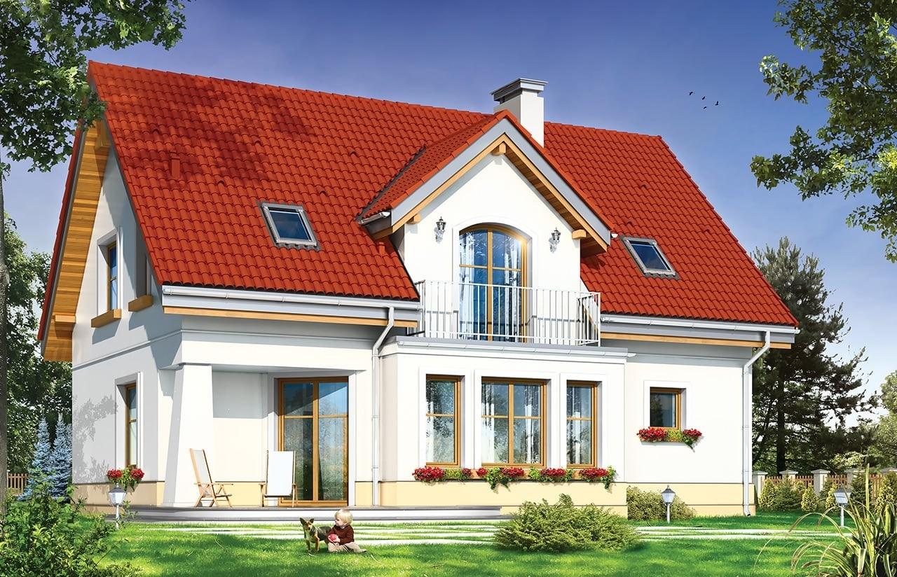 Projekt domu Koniczynka - wizualizacja tylna