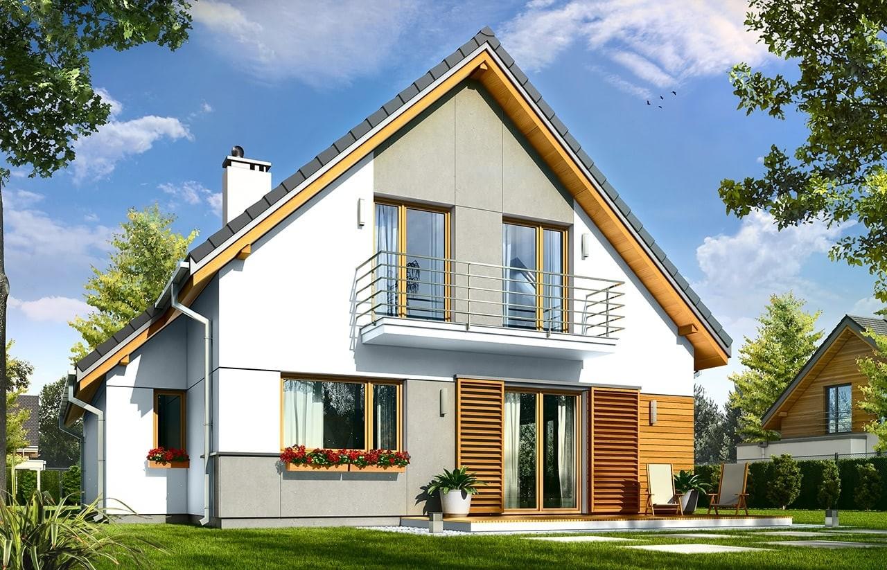 Projekt domu Konwalia - wizualizacja tylna odbicie lustrzane