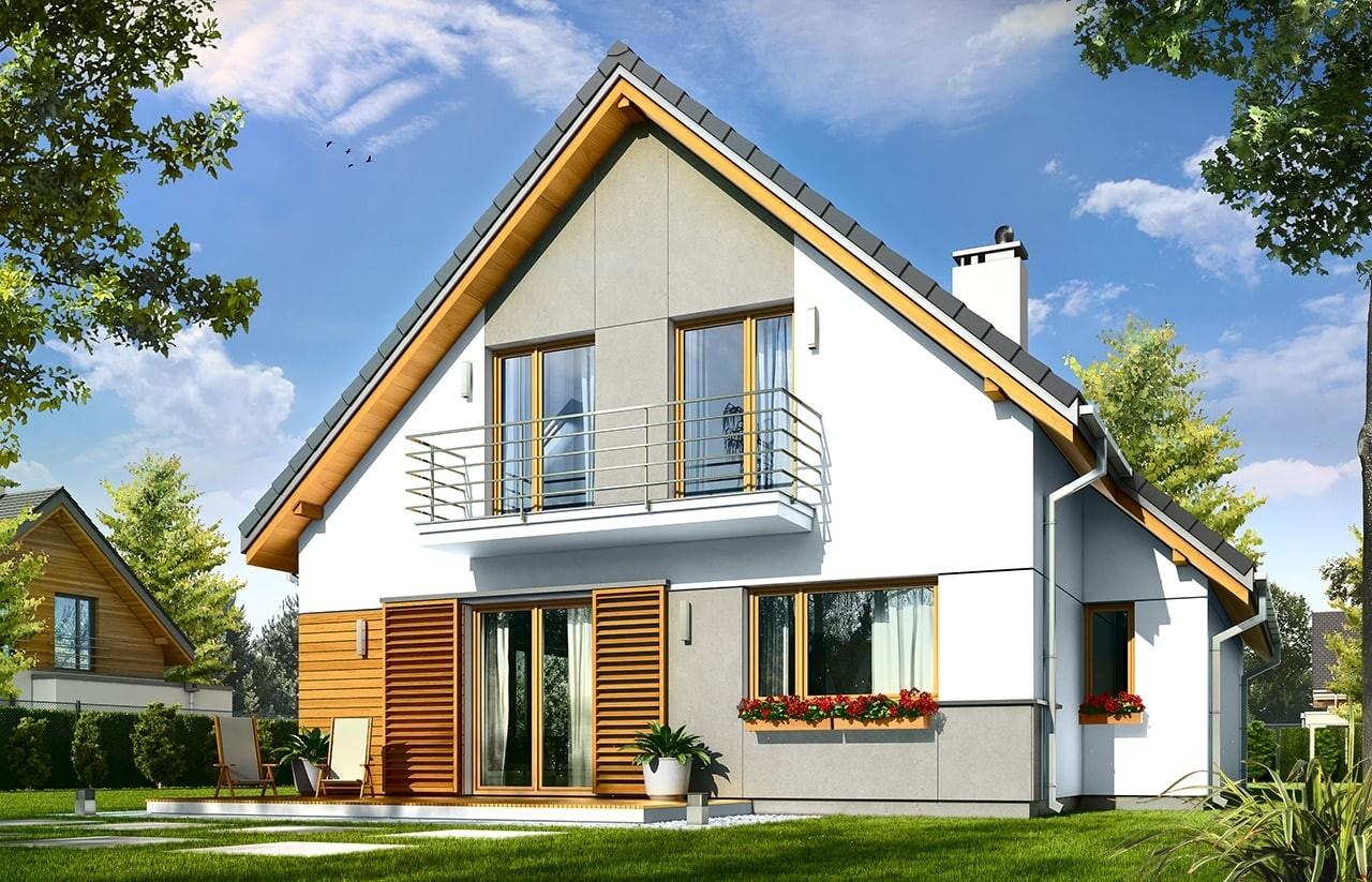 Projekt domu Konwalia - wizualizacja tylna