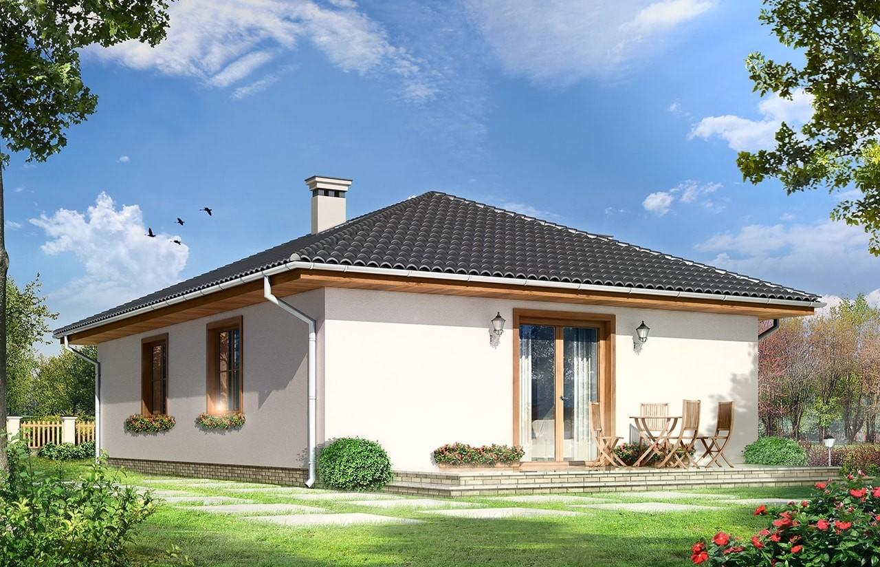 Projekt domu Kropka - wizualizacja tylna