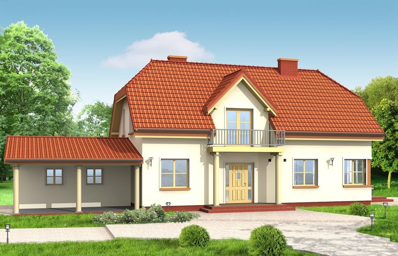 Projekt domu Krzysztof - wizualizacja frontowa odbicie lustrzane