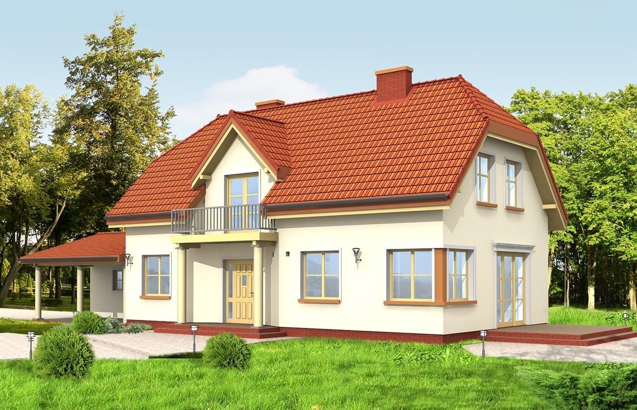 Projekt domu Krzysztof - wizualizacja tylna odbicie lustrzane