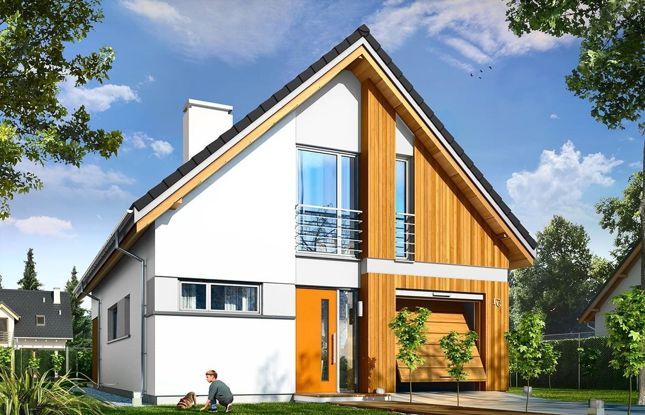 Projekt domu Lena - wizualizacja frontowa odbicie lustrzane