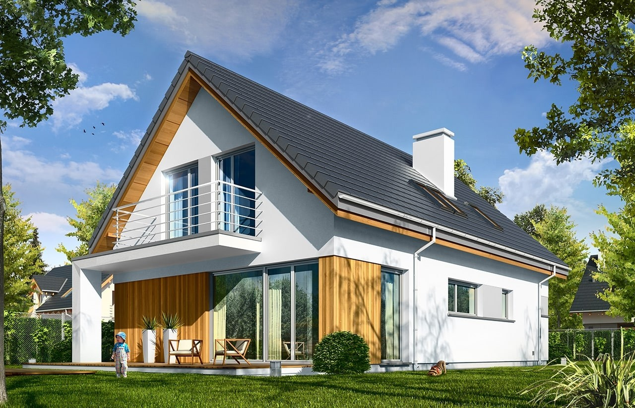 Projekt domu Lena - wizualizacja tylna odbicie lustrzane