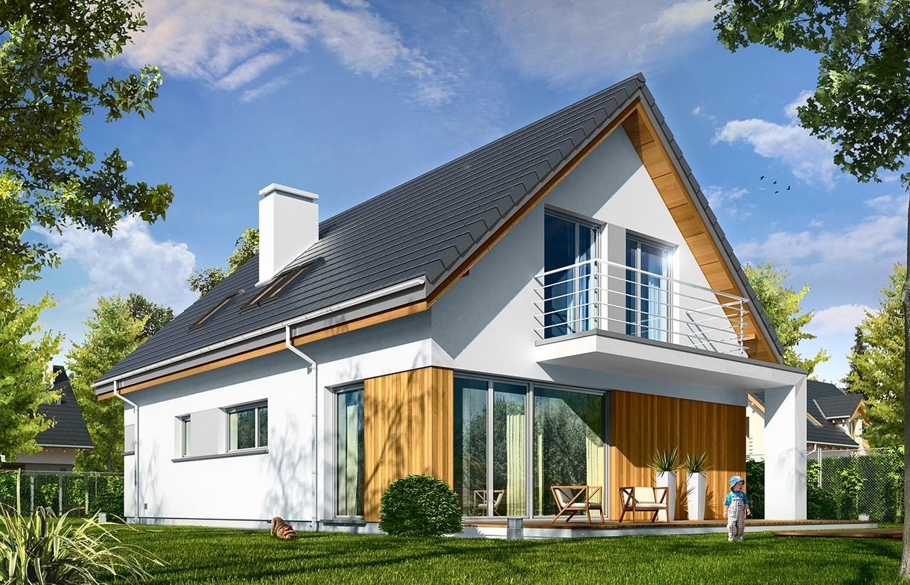 Projekt domu Lena - wizualizacja tylna