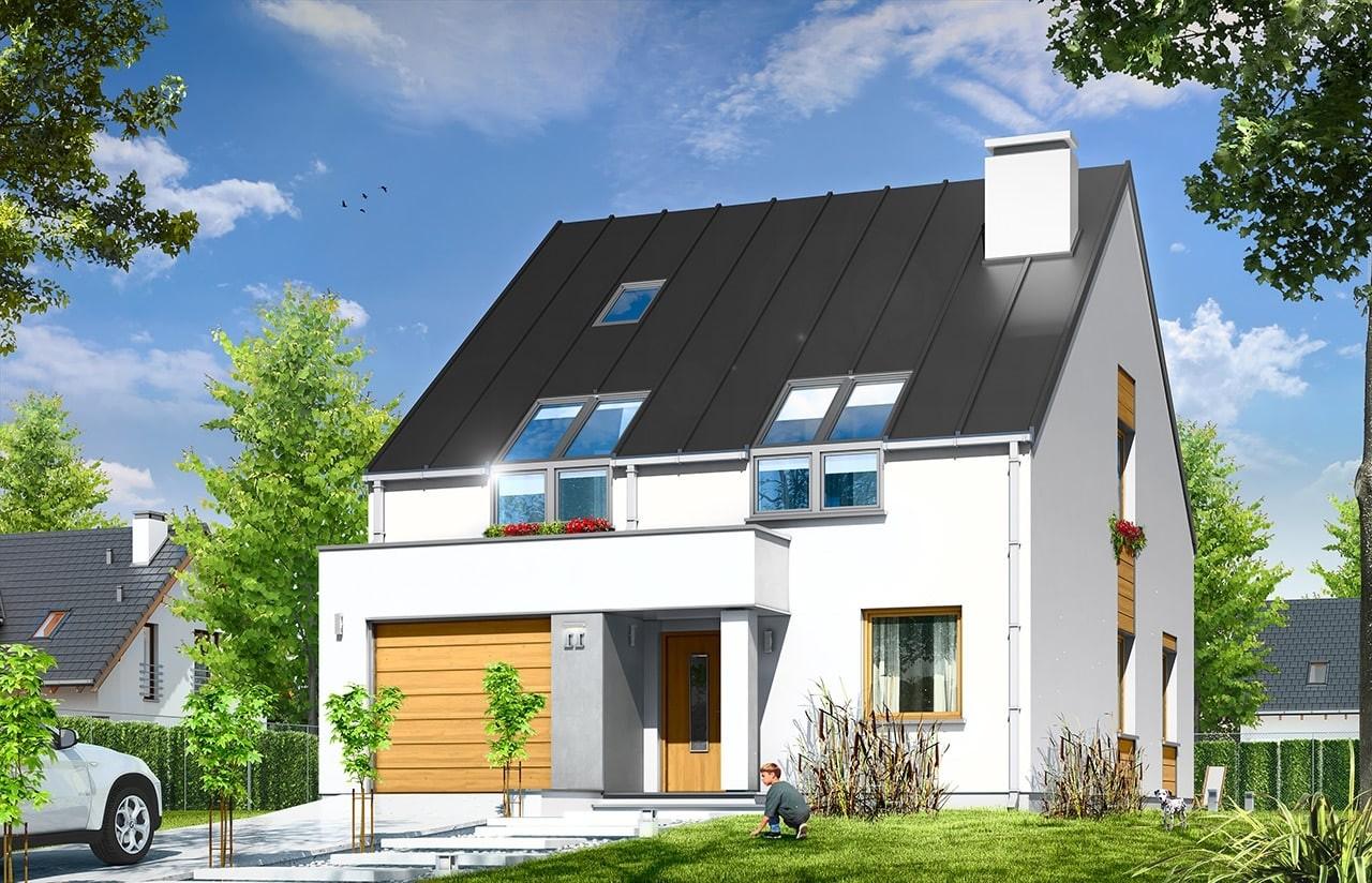 Projekt domu Leo - wizualizacja frontowa odbicie lustrzane