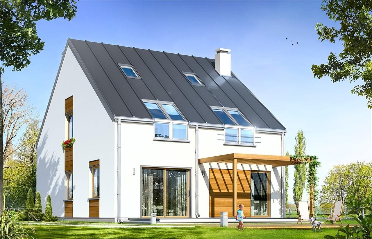 Projekt domu Leo - wizualizacja tylna odbicie lustrzane