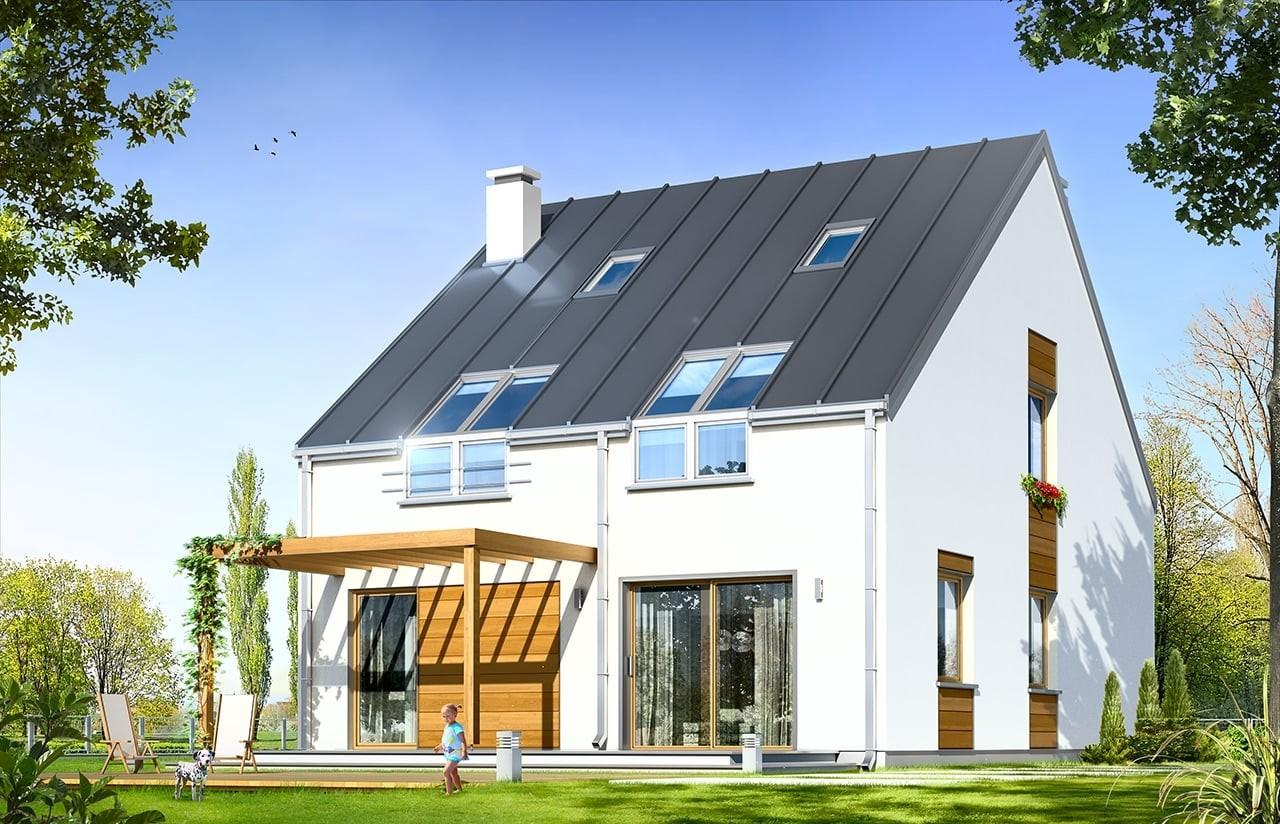 Projekt domu Leo - wizualizacja tylna