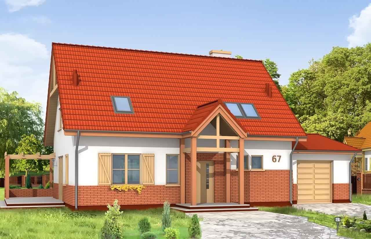 Projekt domu Leśny Zakątek - wizualizacja frontowa