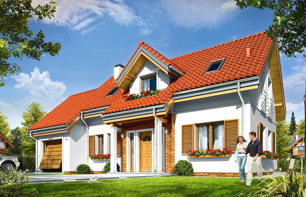 Projekt domu Lucky - wizualizacja frontowa
