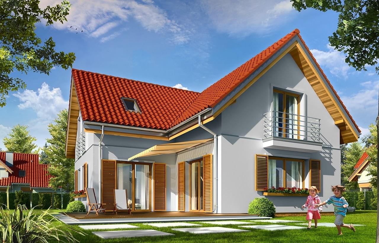Projekt domu Lucky - wizualizacja tylna