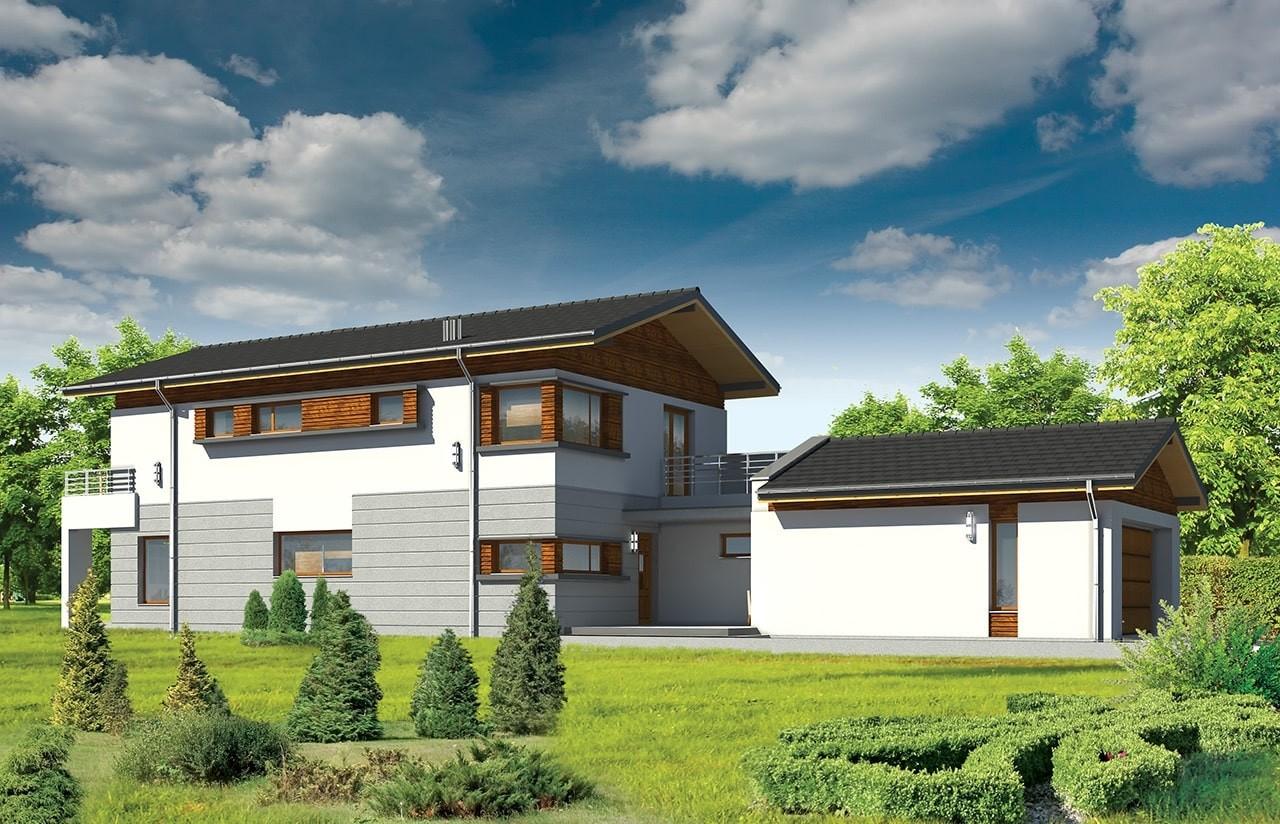 Projekt domu Lugano - wizualizacja frontowa odbicie lustrzane