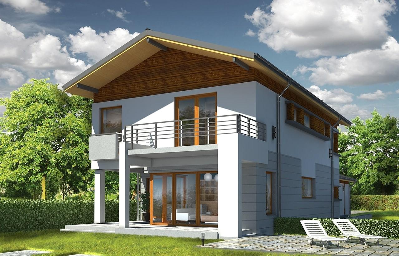 Projekt domu Lugano - wizualizacja tylna odbicie lustrzane