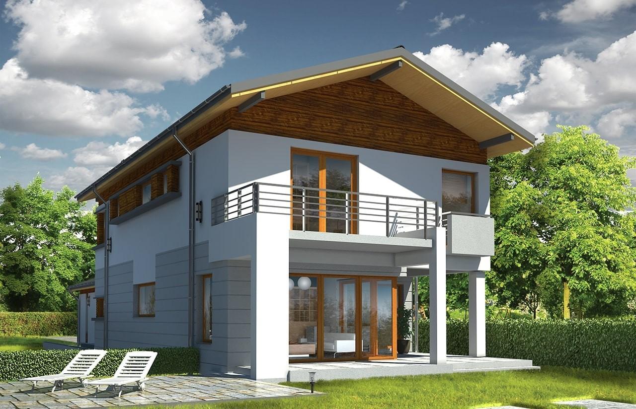 Projekt domu Lugano - wizualizacja tylna