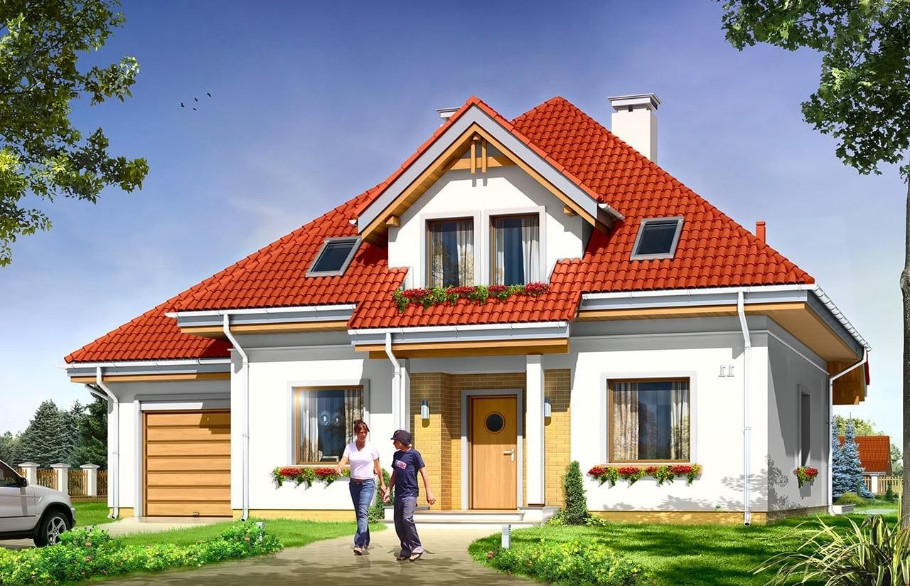 Projekt domu Luka - wizualizacja frontowa odbicie lustrzane