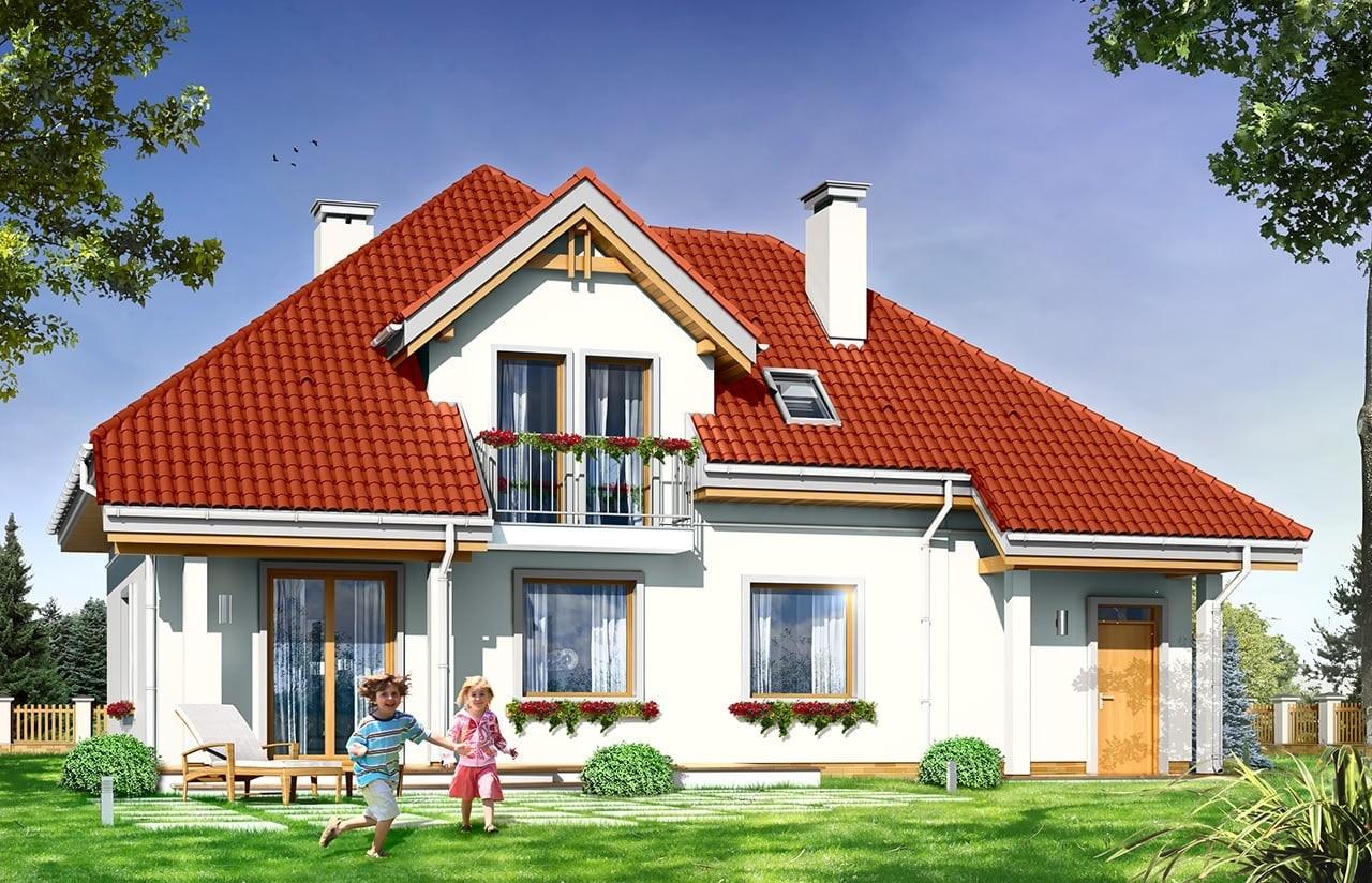 Projekt domu Luka - wizualizacja tylna odbicie lustrzane