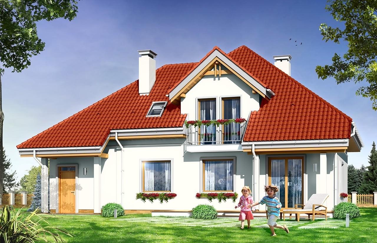Projekt domu Luka - wizualizacja tylna