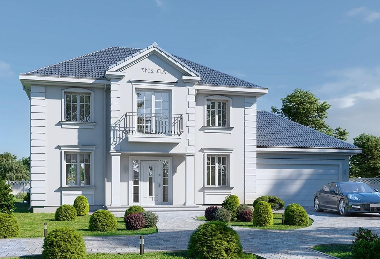Projekt domu Magnat 4 - wizualizacja frontowa odbicie lustrzane