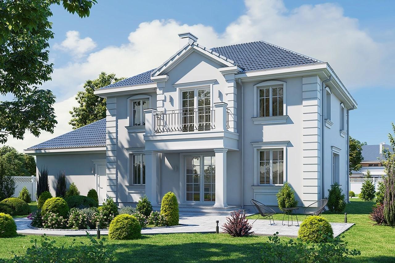 Projekt domu Magnat 4 - wizualizacja tylna odbicie lustrzane