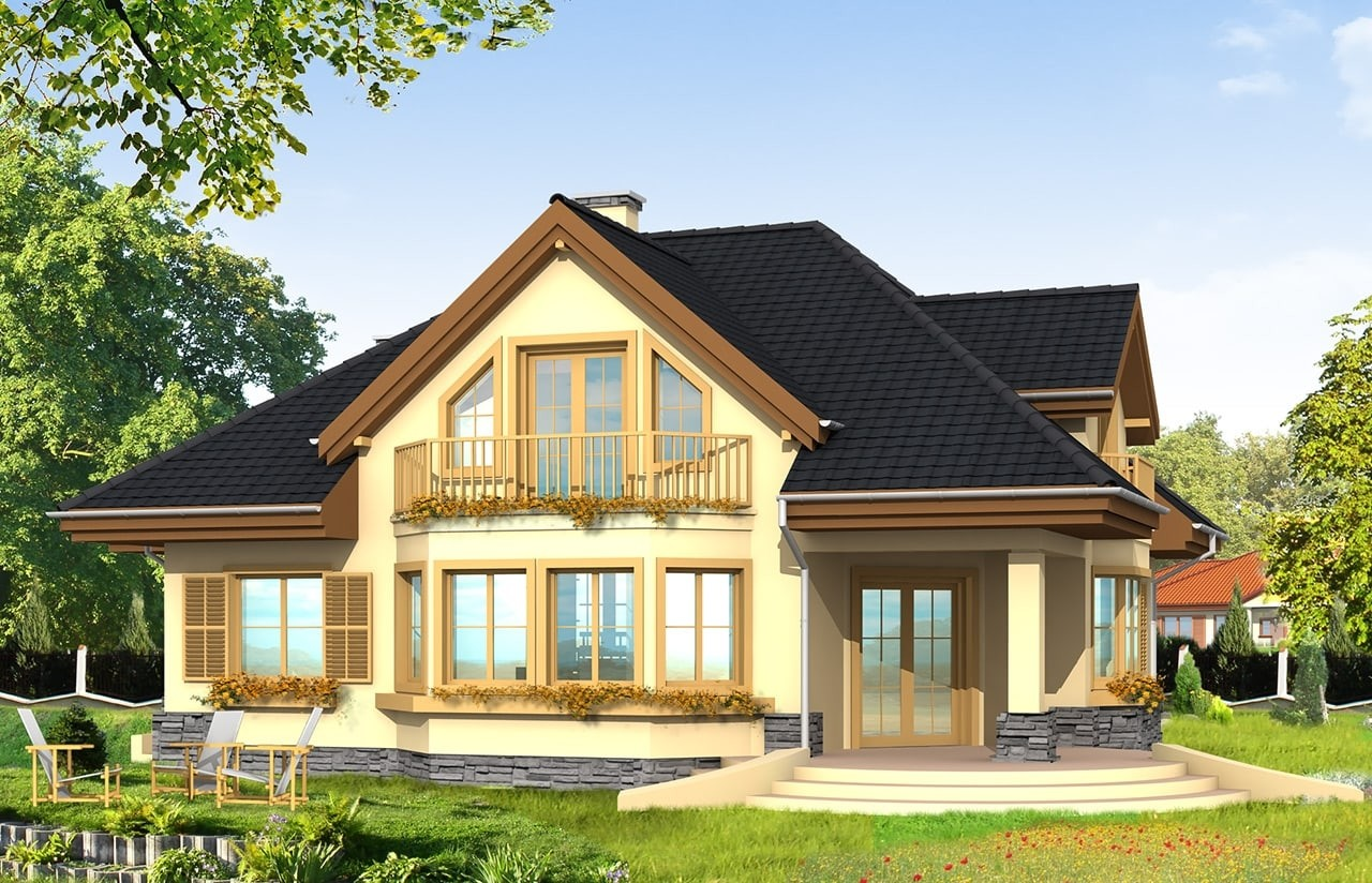 Projekt domu Maja - wizualizacja tylna odbicie lustrzane