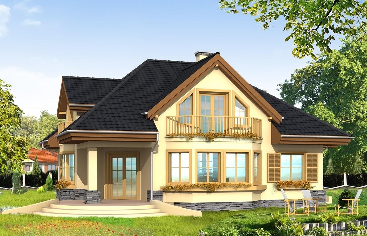 Projekt domu Maja - wizualizacja tylna