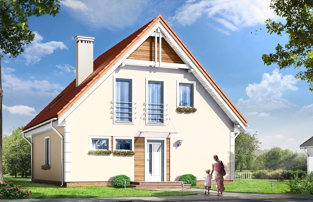 Projekt domu Małgosia - wizualizacja frontowa odbicie lustrzane